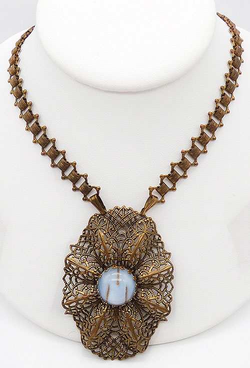Newly Added Hobé Filigree Pendant Book Chain Necklace