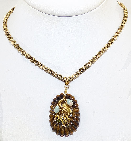 Semi-Precious Gems - Hobé Tiger Eye and Open Pendant Necklace
