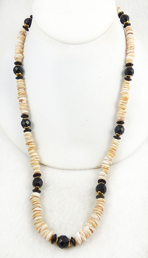 Newly Added Hobé Puka Shell Jet Bead Necklace