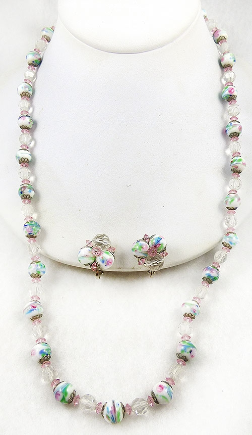 Newly Added Hobé Art Glass Bead Crystal Necklace Set