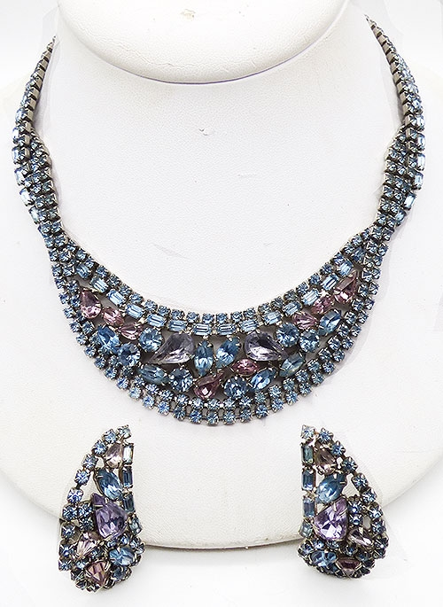 Newly Added Hobé Light Blue, Alexandrite and Pink Rhinestone Necklace Set
