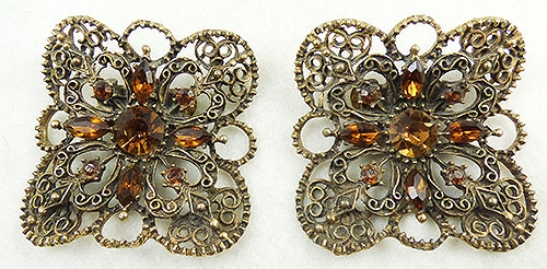 Newly Added Musi Topaz Rhinestone Filigree Shoe Clips