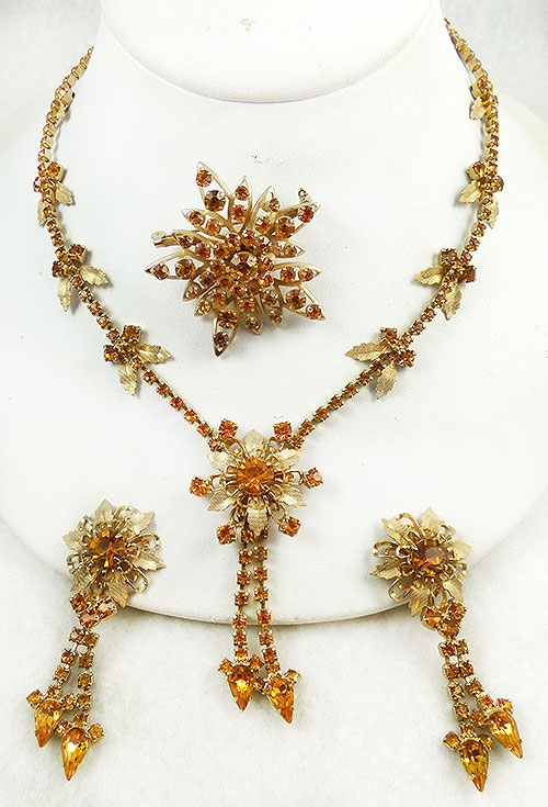 Newly Added Topaz Rhinestone Gold Flowers Parure