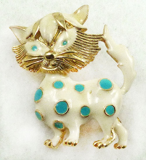 Figural Jewelry - Animals - Alice Caviness Enamel Cat Brooch