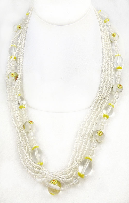 Newly Added Alice Caviness Clear & White Glass Beads Necklace