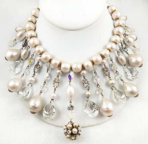 Newly Added Alice Caviness Pearl and Crystal Bib Necklace