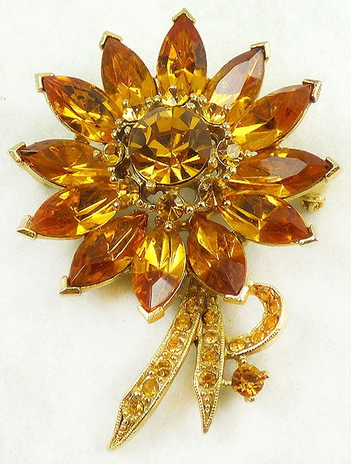 Newly Added Weiss Topaz Rhinestone Flower Brooch