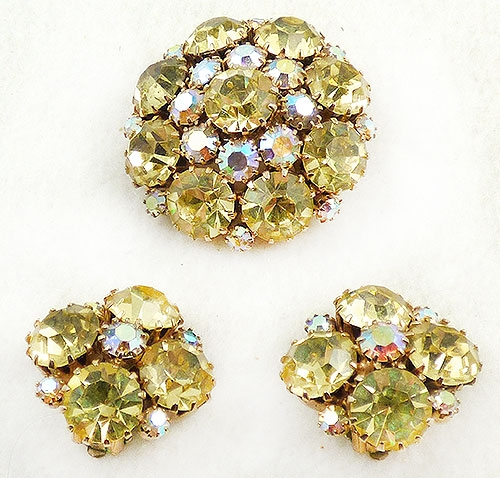 Weiss - Weiss Yellow Rhinestones Brooch Set