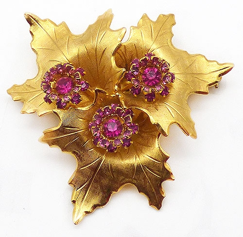 Newly Added Weiss Gold Leaves Pink Rhinestone Brooch