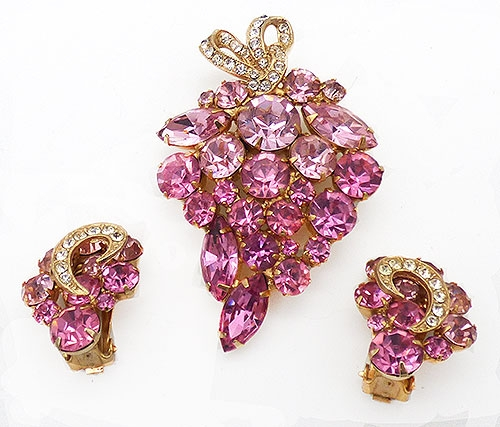 Newly Added Weiss Pink Rhinestone Brooch Set