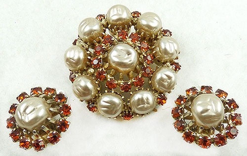 Weiss - Weiss Pearl Circle Brooch Set