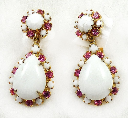 Newly Added Weiss Milk Glass Drop Clip Earrings