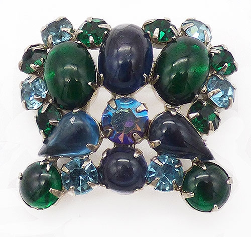 Newly Added Weiss Blue and Green Crown Brooch