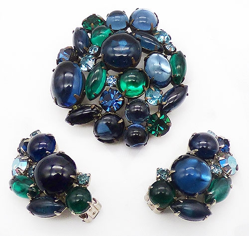Newly Added Weiss Blue Glass Cabochon Brooch Set
