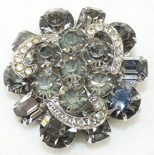 Weiss - Weiss Black Diamond Rhinestone Brooch