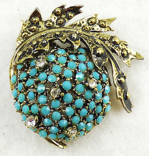 Newly Added Weiss Aqua Rhinestone Fruit Brooch