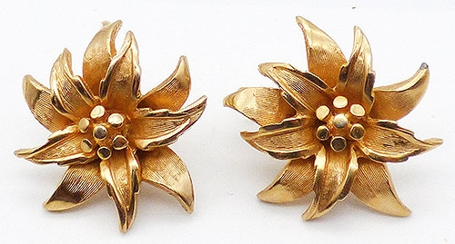 Florals - Boucher Gold Poinsettia Earrings