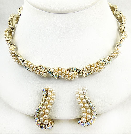 Pearl Jewelry - Kramer Faux Pearl Aurora Rhinestone Necklace Set