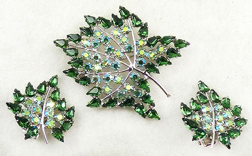 Newly Added B. David Green Rhinestone Leaf Brooch Set