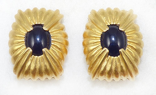 Newly Added Givenchy Matte Gold Navy Cabochon Earrings