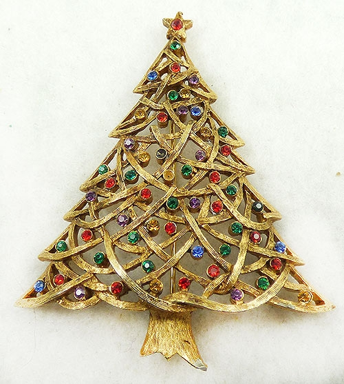 Newly Added Jonette Jewelry JJ Christmas Tree Brooch