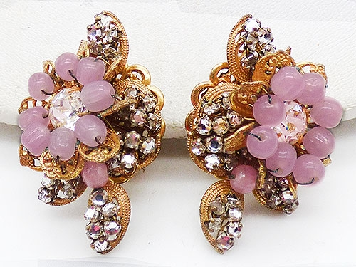 Haskell, Miriam - Miriam Haskell Pink Bead Floral Earrings