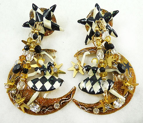 Figural Jewelry - People & Hands - Lunch at the Ritz Moon Dance Earrings