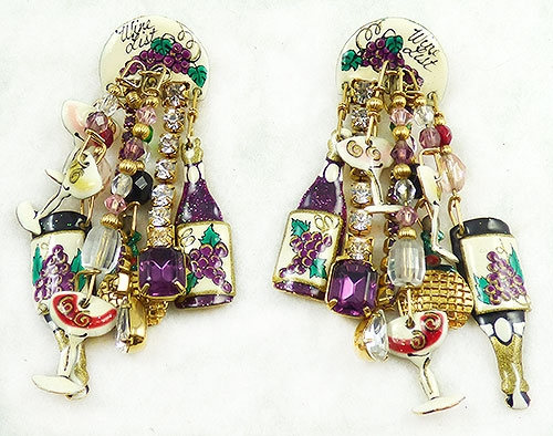 Figural Jewelry - Objects & Things - Lunch at the Ritz 'Wine List' Earrings