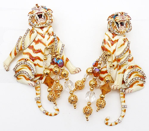 Collectible Contemporary - Lunch at the Ritz White Tie Tiger Earrings