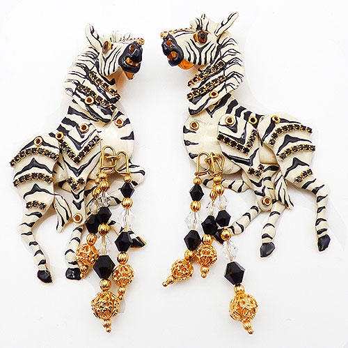 Lunch at the Ritz - Lunch at the Ritz Zebras Earrings