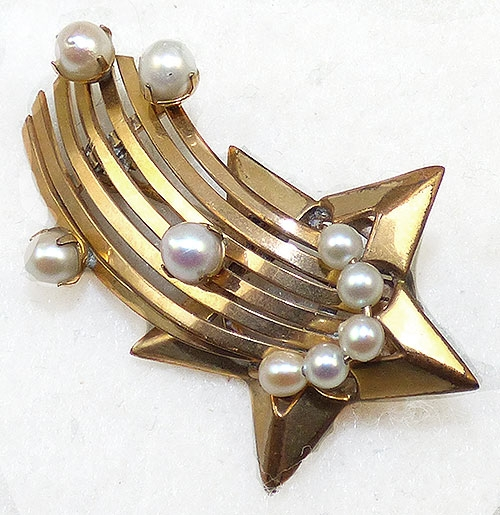 Pearl Jewelry - Gold Filled Shooting Star Brooch