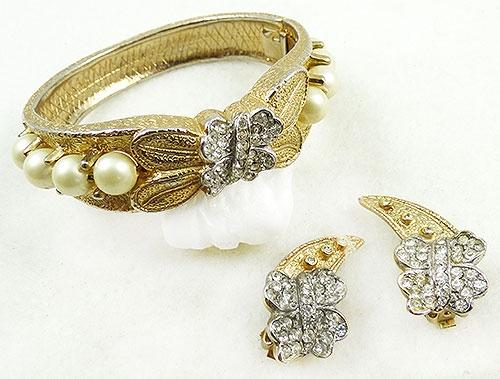 Figural Jewelry - Butterflies & Bugs - Hobé Pearl Rhinestone Butterfly Bracelet Set