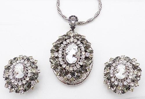 Newly Added Hobé Cameo Rhinestone Locket Necklace Set