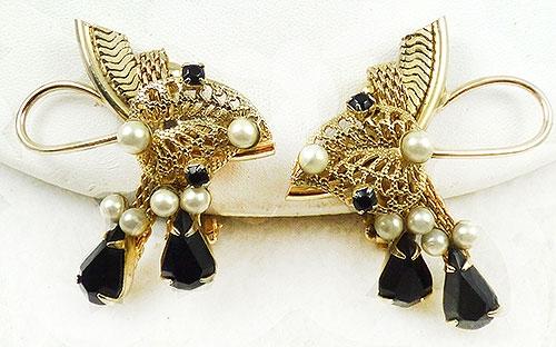 Newly Added Hobé Gold Filigree Leaf Earrings