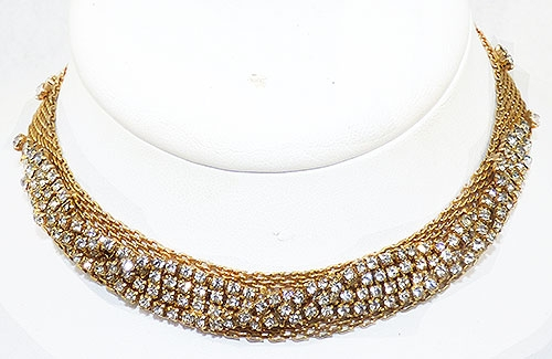 Newly Added Hattie Carnegie Mesh Rhinestone Necklace