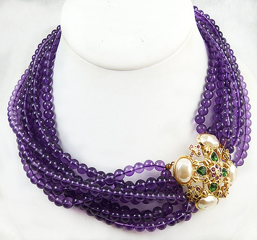 Newly Added Elizabeth Taylor fir Avon 'Forever Violet' Amethyst Torsade Necklace