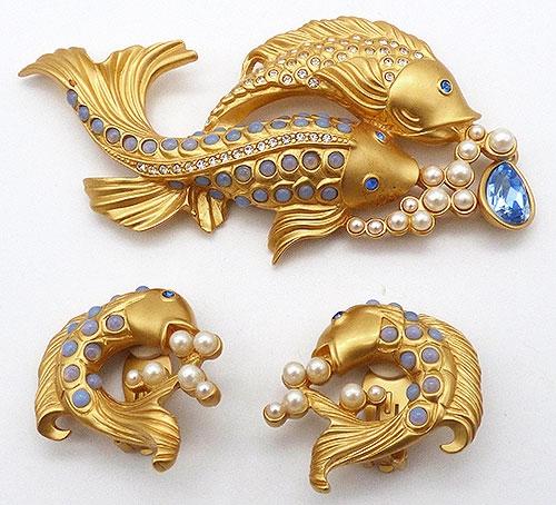 Figural Jewelry - Birds & Fish - Elizabeth Taylor for Avon Sea Shimmer Brooch Set
