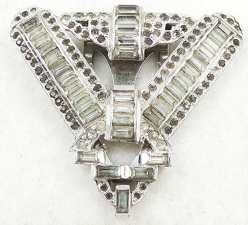 Newly Added Art Deco Rhinestone Triangle Dress Clip