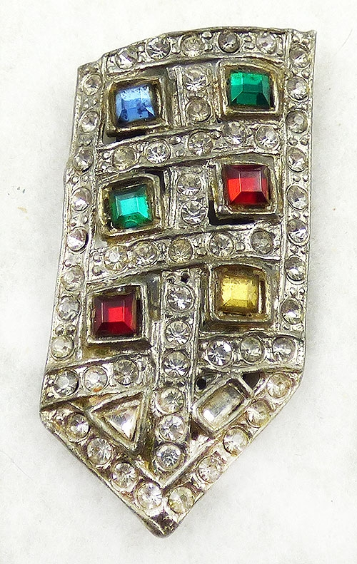 Dress & Fur Clips - Art Deco Pot Metal Rhinestone Dress Clip
