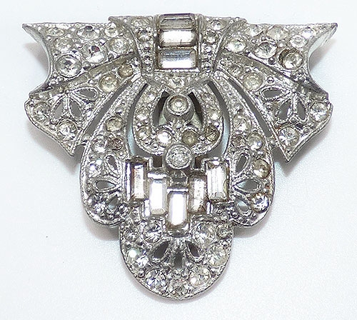 Bows & Ribbons - Art Deco Rhinestone Dress Clip