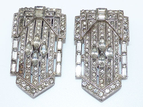 Dress & Fur Clips - Art Deco Rhinestone Dress Clips Pair