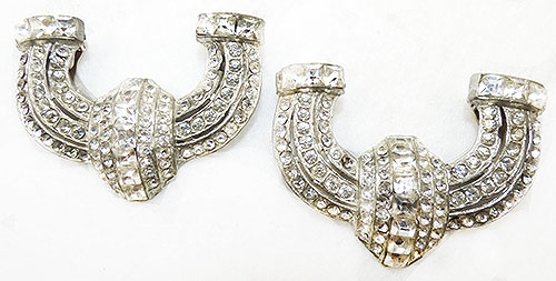 Art Deco - Art Deco Rhinestone Dress Clips Pair