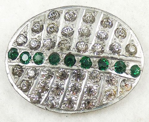 Newly Added Art Deco Oval Rhinetone Brooch