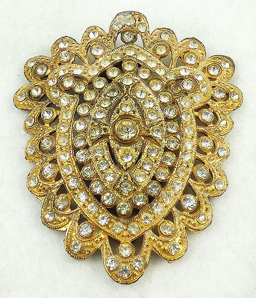 Newly Added Gold Plated Lacy Rhinestone Dress Clip