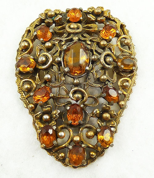 Dress & Fur Clips - Art Nouveau Amber Glass Fur Clip
