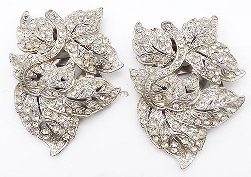 Dress & Fur Clips - Clear Rhinestone Leaves Dress Clips Pair