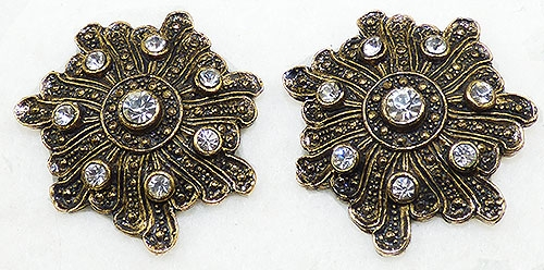 France - Bluette Antique Gold Tone Shoe Clips