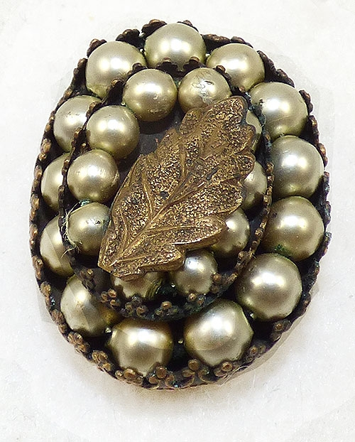 Pearl Jewelry - Simulated Pearl Brass Leaf Dress Clip