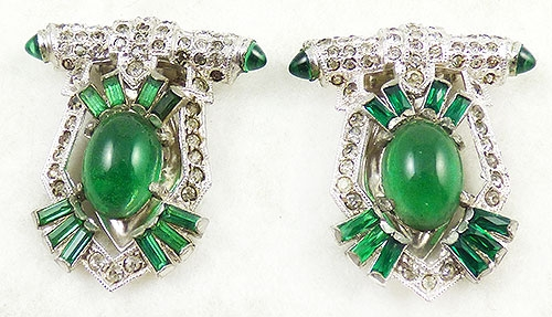 Newly Added Coro Art Deco Rhinestone Emerald Cabochon Dress Clips