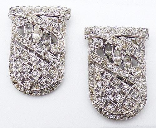 Dress & Fur Clips - Art Deco Clear Rhinestone Dress Clips Pair